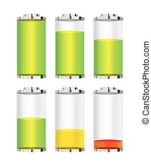 set of a battery level vector on a white background