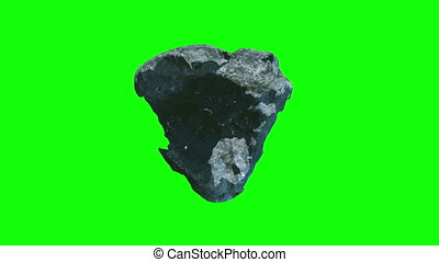 meteorite stone rotation chromekey - 3d animation of...