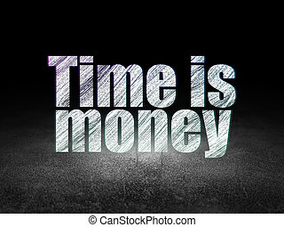 Business concept: Time is Money in grunge dark room
