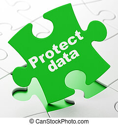 Security concept: Protect Data on puzzle background -...