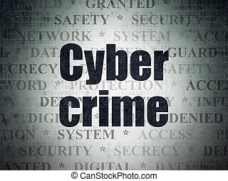 Safety concept: Cyber Crime on Digital Data Paper background...