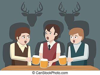 men drinking beer and singing vector cartoon - men drinking...