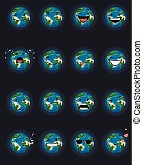 Sixteen planet faces - Vector illustration of a sixteen...