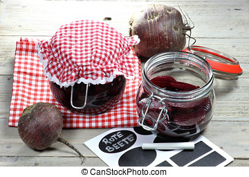 beetroot - home canned beetroot on wooden table