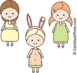 Cute smiling girls characters. Sweet cartoon little kids in summer dresses