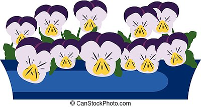 Pansy Garden Flowers in box. Vector illustration. Icon,...