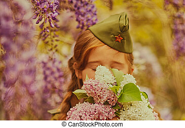little girl in a military uniform - cute little girl in a...