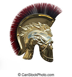 3D Rendering Ancient Greek Helmet on White - 3D rendering of...