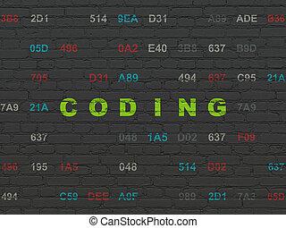 Database concept: Coding on wall background - Database...