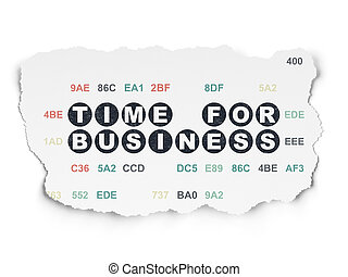 Time concept: Time for Business on Torn Paper background -...
