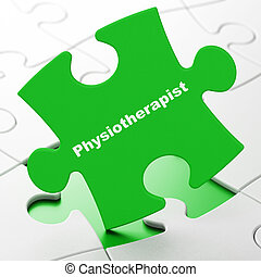 Medicine concept: Physiotherapist on puzzle background -...