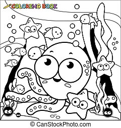 Little octopus and fish underwater. Coloring book page.