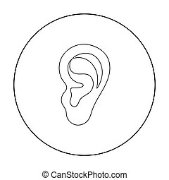 Ear icon in outline style isolated on white background. Part...
