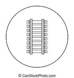 Mine railway icon in outline style isolated on white...
