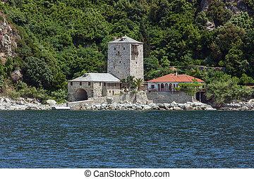 Wharf of Simonopetra monastery, Mount Athos - Scenic view to...