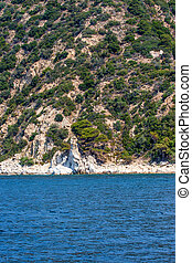 Waterfall on Mount Athos - Scenic view of waterfall on Mount...