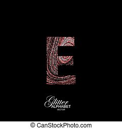 Curly textured Letter E. - Letter E of red and silver...
