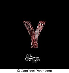 Curly textured Letter Y. - Letter Y of red and silver...