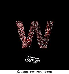 Curly textured Letter W. - Letter W of red and silver...