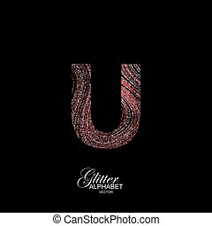 Curly textured Letter U. - Letter U of red and silver...