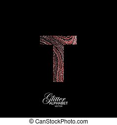 Curly textured Letter T. - Letter T of red and silver...