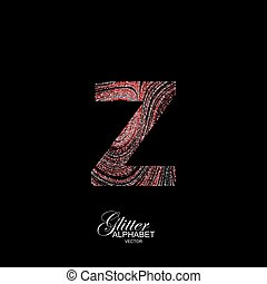 Curly textured Letter Z. - Letter Z of red and silver...