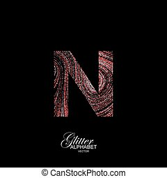 Curly textured Letter N.