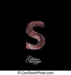 Curly textured Letter S. - Letter S of red and silver...