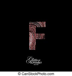 Curly textured Letter F. - Letter F of red and silver...