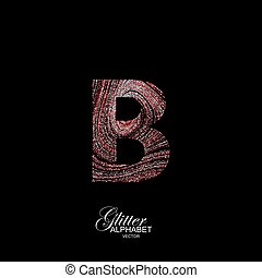 Curly textured Letter B. - Letter B of red and silver...