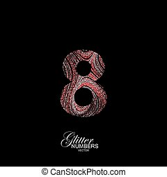 Curly textured number 8. - Number 8 of red and silver...