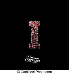 Curly textured Letter I. - Letter I of red and silver...
