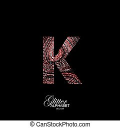 Curly textured Letter K. - Letter K of red and silver...