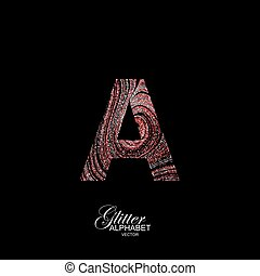 Curly textured Letter A. - Letter A of red and silver...
