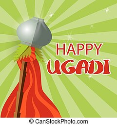 Happy Gudi Padwa pot palm leaf red flag - Grey festive pot,...