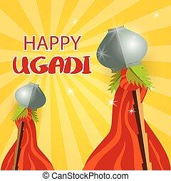 Happy Gudi Padwa grey pot and red flag - Happy ugadi...