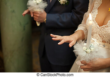 儀式, 新娘, 新郎, 戒指, 手指, 他們, 婚禮, 在期間, 握住