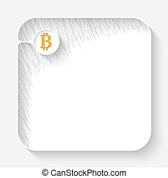 A white text box with hand written shadow and bit coin...