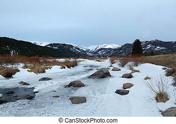 Winter Morning in Rocky Mountain National Park, Estes Park,...