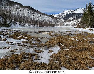 A Frozen Cub Lake in Rocky Mountain National Park, Estes...