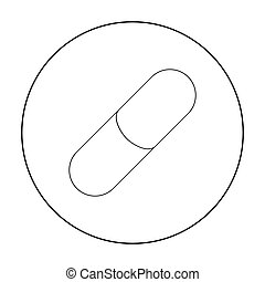 Pill icon outline. Single medicine icon from the big...