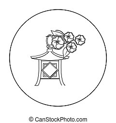 Japanese lantern icon in outline style isolated on white background. Japan symbol stock vector illustration.