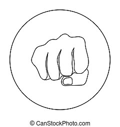 Fist bump icon in outline style isolated on white background. Hand gestures symbol stock vector illustration.