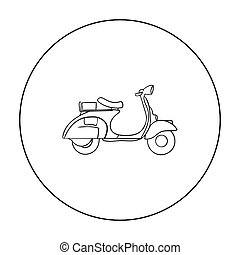Italian scooter from Italy icon in outline style isolated on...