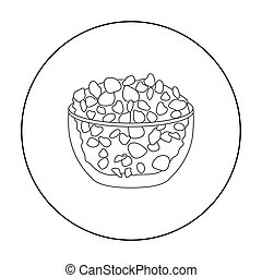 Cottage cheese in the bowl icon in outline style isolated on...