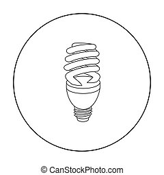 Fluorescent lightbulb icon in outline style isolated on white background. Light source symbol stock vector illustration