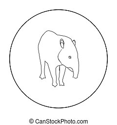 Mexican tapir icon in outline style isolated on white...