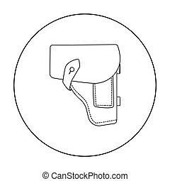 Army handgun holster icon in outline style isolated on white...