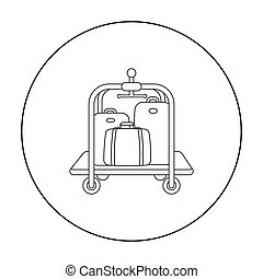 Luggage cart icon in outline style isolated on white...