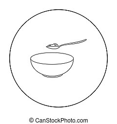 Cottage cheese icon outline. Single bio, eco, organic...